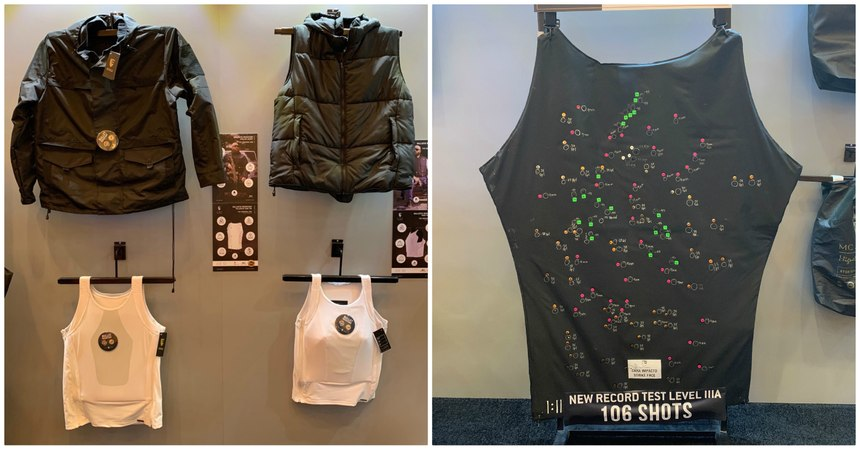 Left: Clockwise from top left, windbreaker, puffy jacket, level IIIA undershirt and level II undershirt. Right: At SHOT Show 2020, MC Armor displayed a vest that sustained 106 shots without failure.