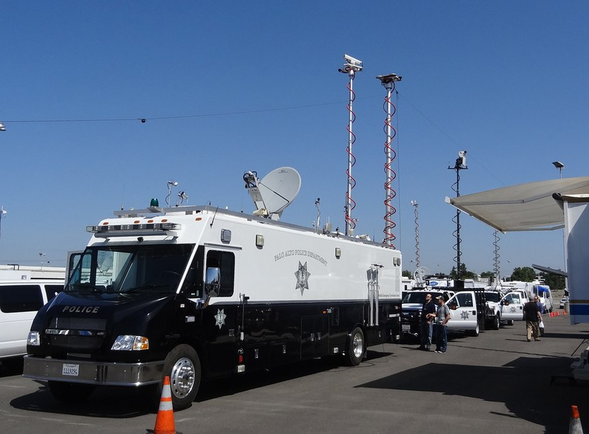 Full-size mobile EOC (MEOC) and support vehicles at the 2014 California Mobile Command Center Expo. (Photo/Randall Larson)