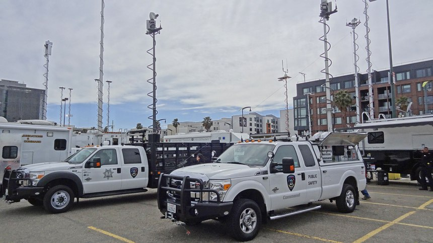 The director command vehicle (DCV) and MEOC Support Vehicle (MSV) at the 2018 California Mobile Command Center Expo.