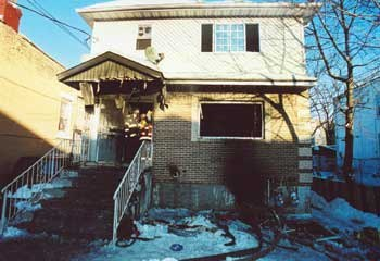 Ladder 103 Firefighter Richard Sclafani died following a response to this two-family home on Jerome Street in Brooklyn. While his crew exited the basement as the heat grew too intense, Sclafani caught his gear on a coat rack while trying to exit. (Photo/NIOSH)