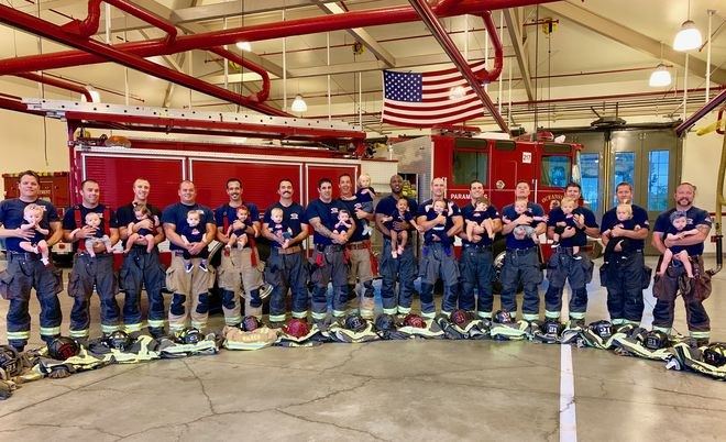 Seventeen Oceanside Fire Department firefighters became dads in the span of one year.