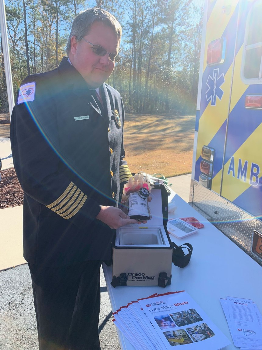 Onslow County EMS Division Head David Grovdhal displays a bag of whole blood. (Photo/Onslow County EMS)