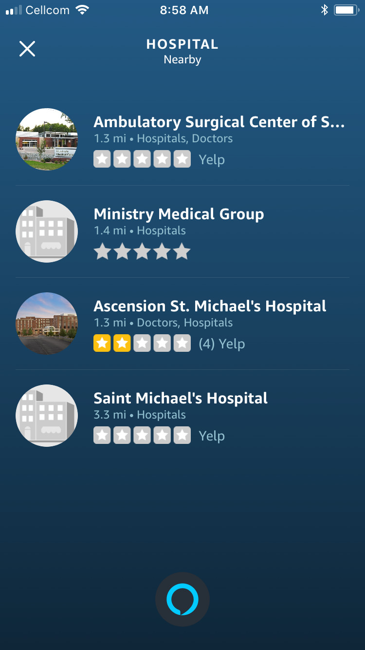 When I asked Alexa where the nearest hospital was, the top result was an ambulatory surgery center and the other results were the same facility.