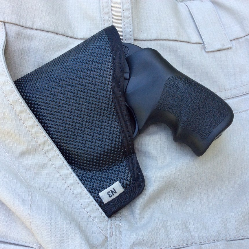 The DeSantis Nemesis holster is a popular and efficient way to safely carry a snubby revolver as your BUG. Stowed in your support side pocket, you will have ready access to your lifesaving backup. (Photo/Mike Wood)