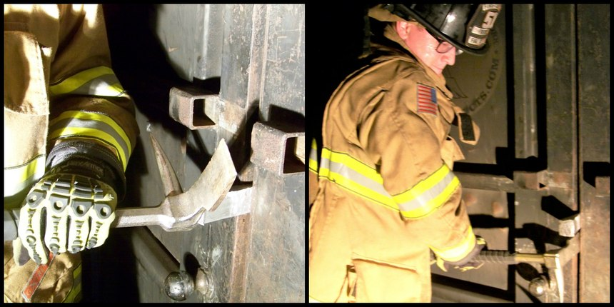Figures 12 (left): Using the Halligan as a striking tool, simply drive the wedge between the door and the door frame until a desired gap is achieved; Figure 13 (right): You can increase the size of your gap up to 2 inches, if the door and door frame allow, by cranking up or down on the fork end of Halligan and advancing the wedge deeper into the door as you increase gap with the adz.