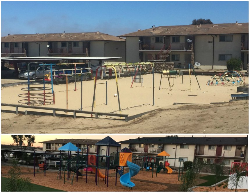 Before and after photos of the Del Monte Manor playground. (Photo/Nick Borges)