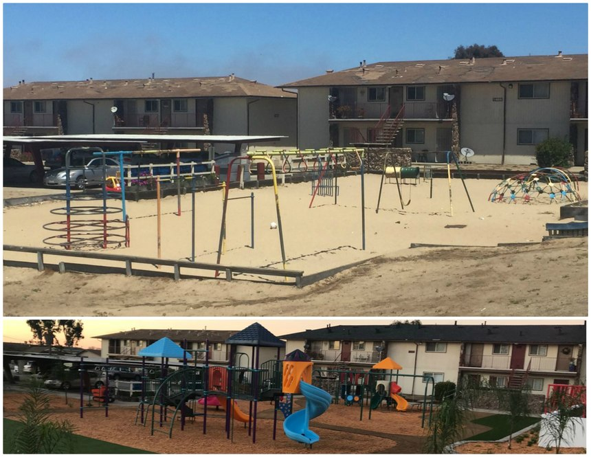 Before and after photos of the Del Monte Manor playground.