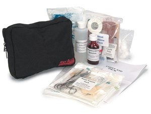 Be prepared to address injuries with a first aid kit, but be sure to consult your vet if your dog is hurt or sick.