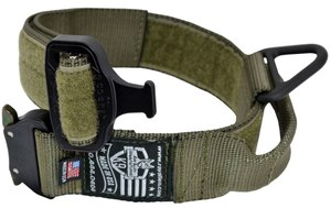 The Cobra Buckle Dog Collar with Handle fastens easily and quickly, and both ears on the buckle have to be pushed simultaneously to open, preventing accidental release