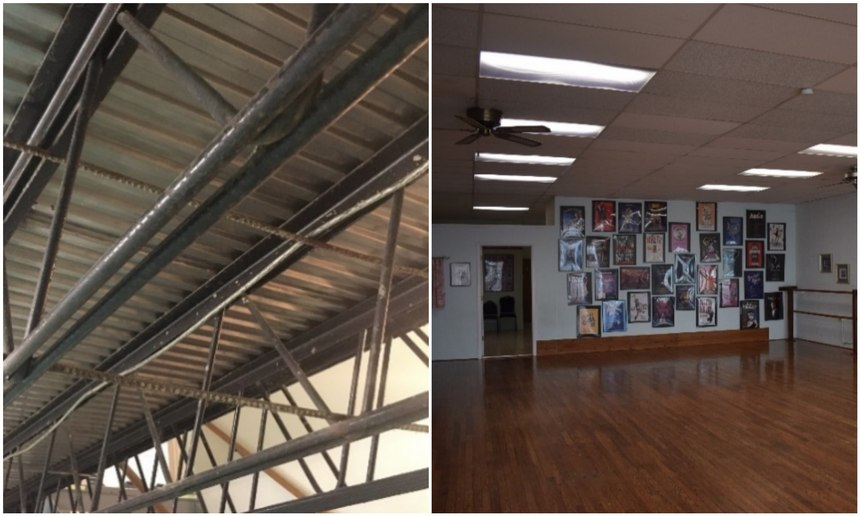 Figure 1 shows the basic design and use of both the open web truss and metal clad construction. Figure 2 shows the characteristic large open areas without columns, with a drop ceiling and recessed lighting indicative of buildings that utilize this open truss construction. (Photos/Robert Rielage)