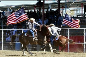 The rodeo consists of bull riding, bareback bronc riding and some fun and games.