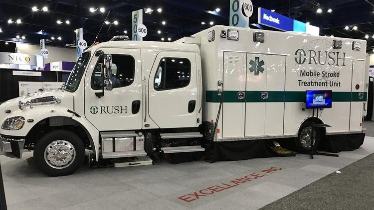 The mobile stroke unit is a custom-built ambulance outfitted with a Rush-owned physician clinic, which can provide mobile stroke diagnostics and treatment services. (Photo/Rush University Medical Center)