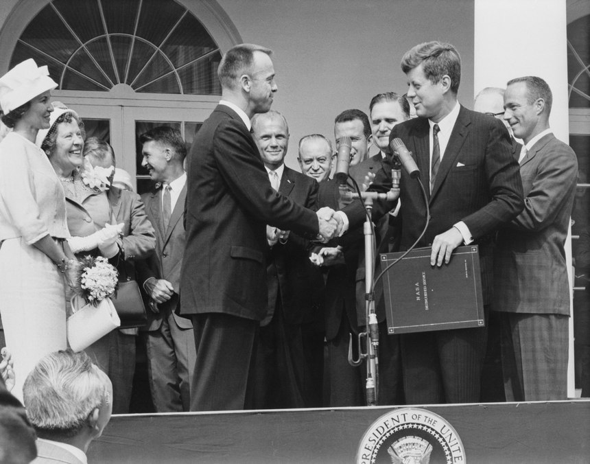 John F. Kennedy awards Alan B. Shepard, Jr. the first American in space, the NASA Distinguished Service Award on May 8, 1961.