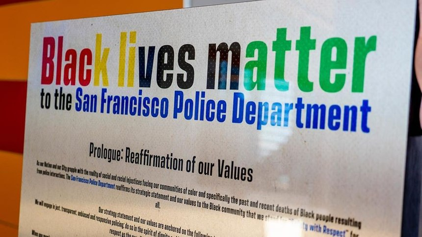 The 'Black lives matter' poster that's mandated to be displayed in every San Francisco police station. (Photo/San Francisco Police Department)