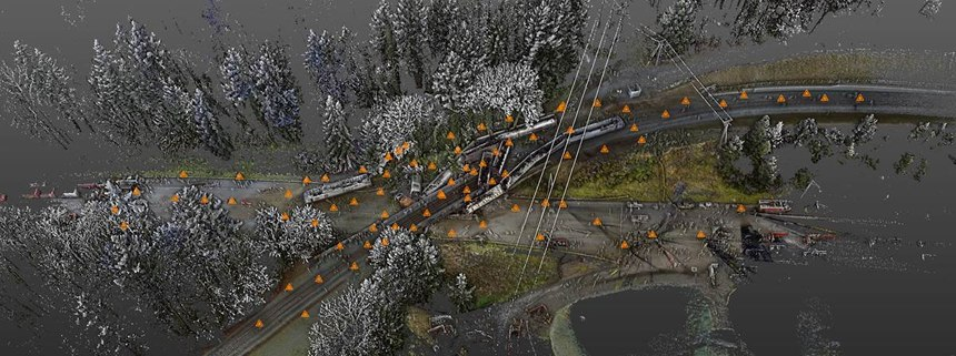 Detective Eric Gunderson integrated scanning data and UAV photos to create a 3D point cloud of the incident scene. In this view, orange markers indicate the location of each of the 82 set ups taken with the Trimble TX5.