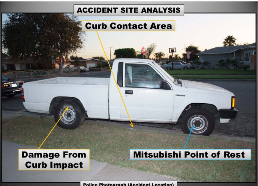 A demonstrative photo by Landerville showing the point of rest of the Mitsubishi pickup after Wyatt crashed the minivan into it. Photo courtesy of Anaheim City Attorney's Office.