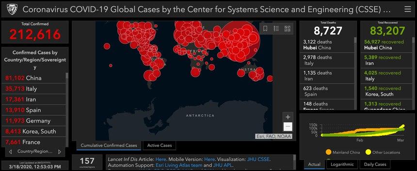 (Photo/coronavirus.jhu.edu/map.html)