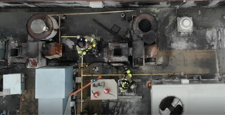"""The use of drones in the fire service is increasing. This allows the IC a live """"bird's eye view"""" of the situation."""