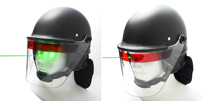 An officer wearing a Lazer-Shield enhanced face shield simply dips their head forward to take advantage of the Lazer-Shield's protective abilities. (image/Super Seer)