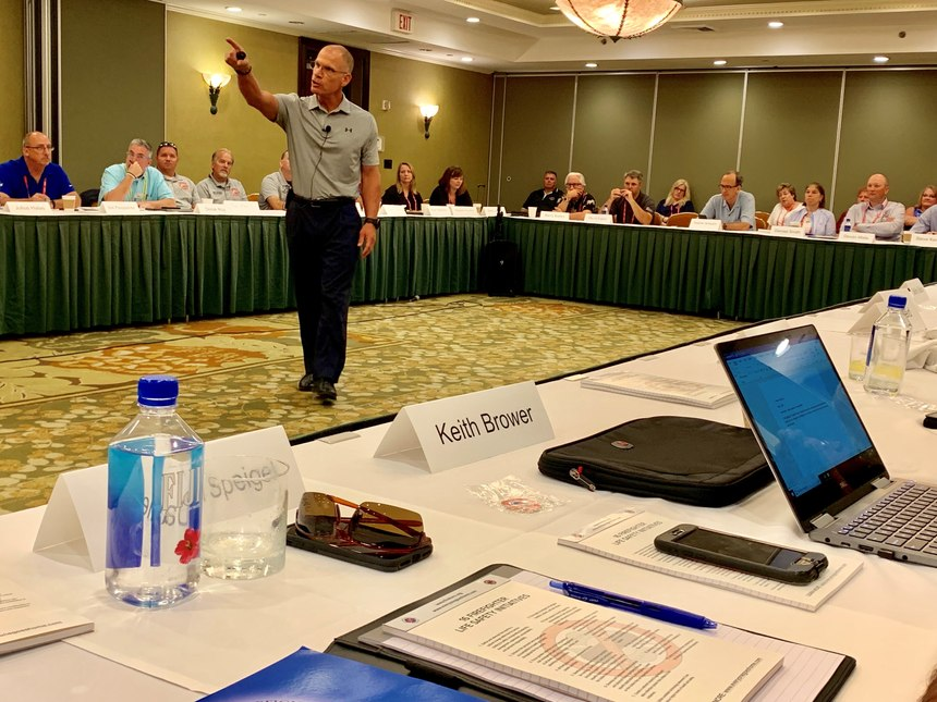 """Kingsburg (California) Fire Chief Tim Sendelbach challenges the team to """"move the ball forward"""" and work with external partners."""