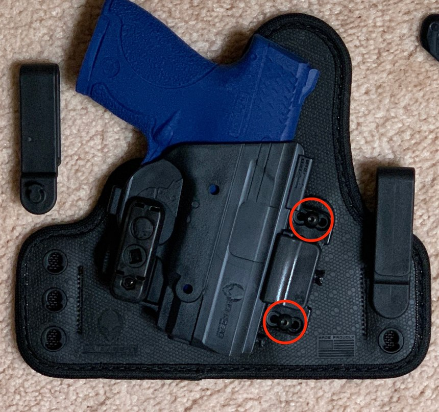 By selecting from six different holes in the shell (in red) and six different belt clip holes, the cant of the firearm and the base can be customized to the preference of the user.