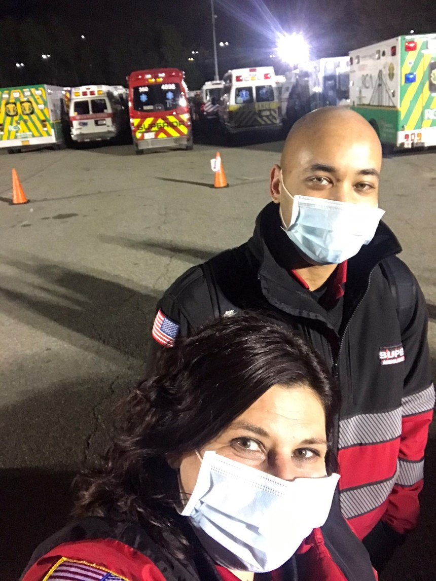 Superior Air-Ground Ambulance Paramedic Shayna Cowhick and EMT Emile Kemp on deployment in New York. (Photo/Courtesy of Paramedic Shayna Cowhick)