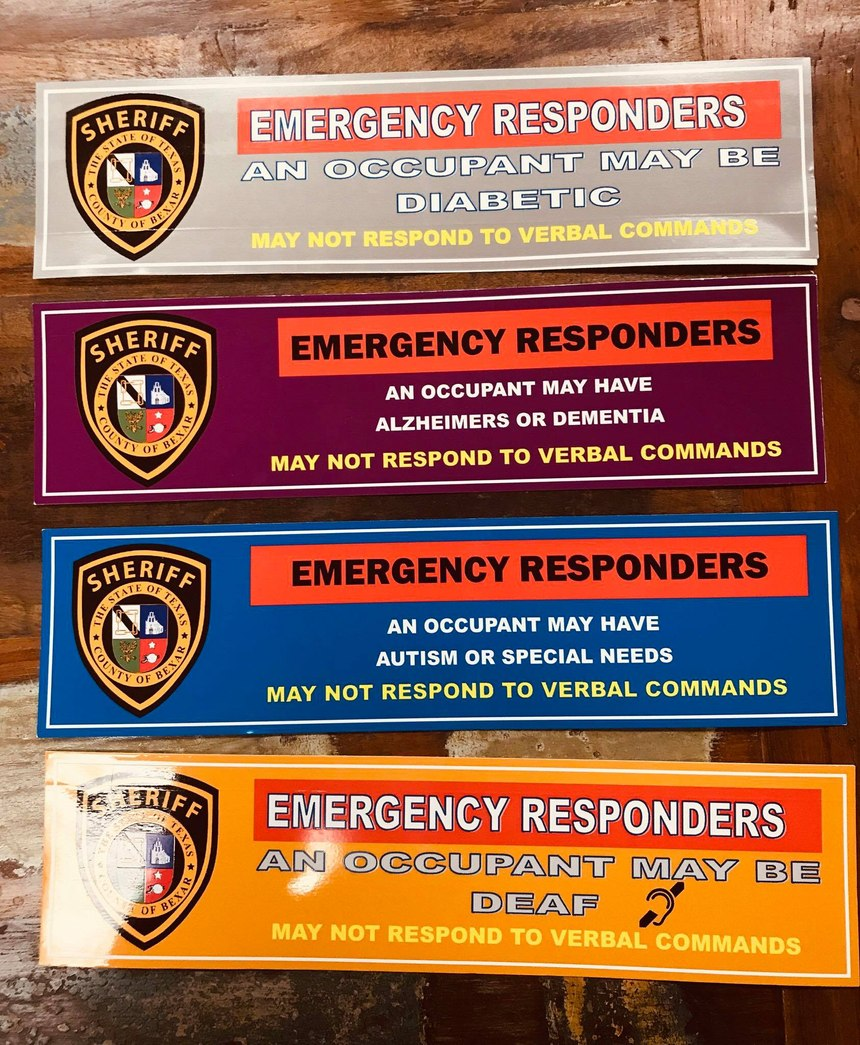 Bexar County Safety Stickers, an initiative started to help law enforcement know if they are dealing with someone with a physical or mental disorder (Photo/ Bexar County Sheriff's Office)