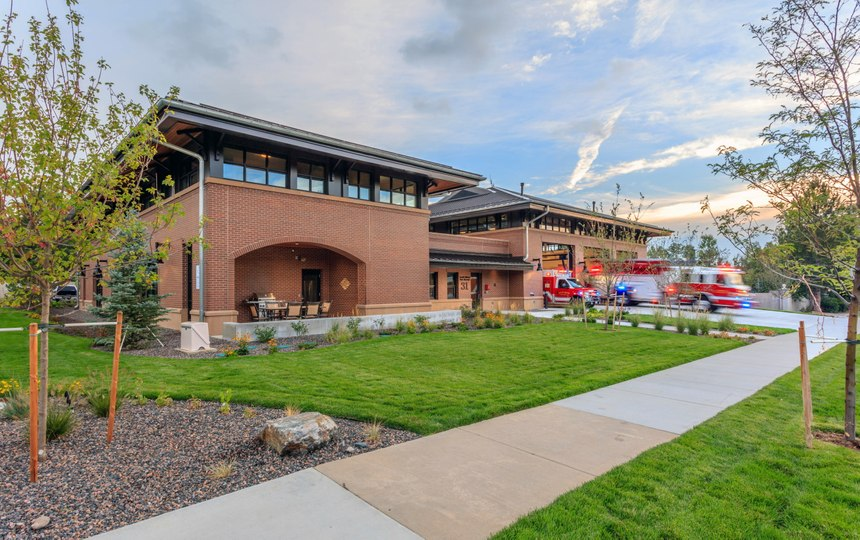 South Metro Fire's new Station No. 31 has a recessed patio near the station's street frontage that allows firefighters to interact among themselves and with neighbors and passersby.