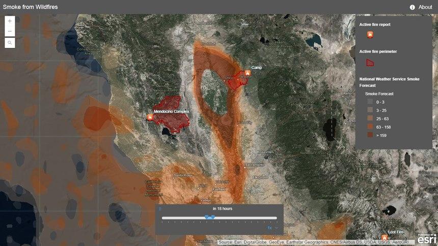 ESRI Smoke Forecast Map