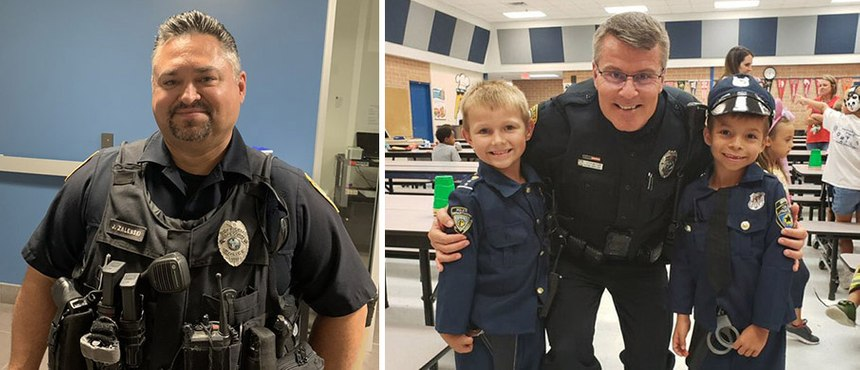 School Resource Officers Joe Zalenski, left, and Trend Westerlund, right, serve with the Cape Coral, PD in Florida.