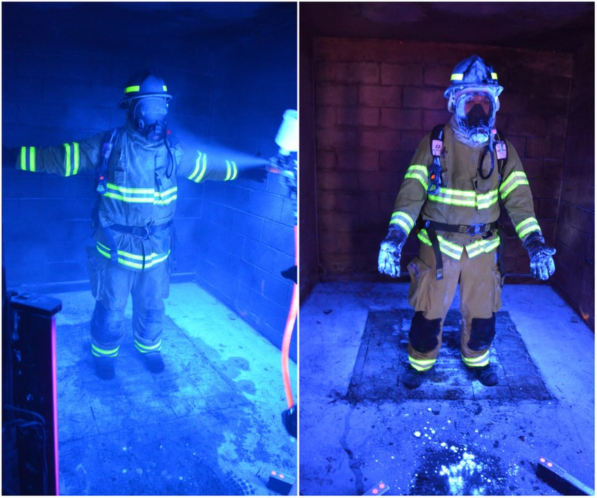 Left to right: A firefighter being sprayed with fluorescent agent under UV light. The remaining fluorescent surrogate contaminant on firefighter PPE following PER reduction. (Photos/Jeff Stull)