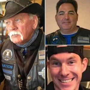 Jerry Wayne Harbour (left), Michael White (bottom right) and Joseph Paglia were killed by a driver suspected of DUI while riding with the Thin Blue Line motorcycle club July 18, 2020 near Kerrville, Texas.