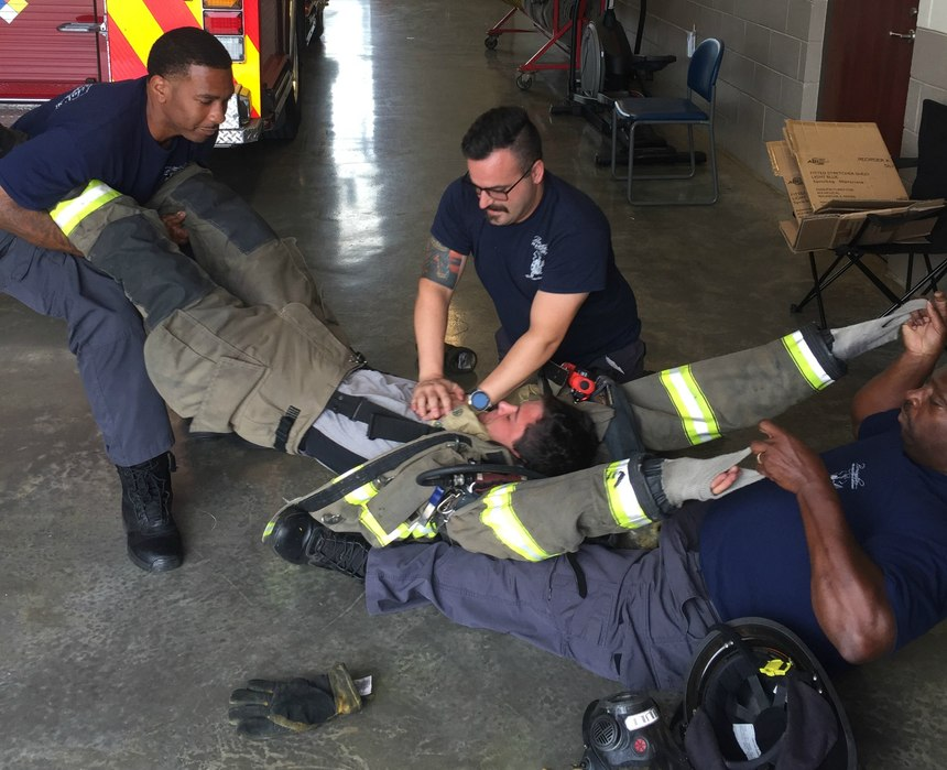 Following the training, the crew was humbled at how much more difficult it was to treat a patient wearing full gear. But after a few practice rounds, we felt much more confident about how to handle the situation.