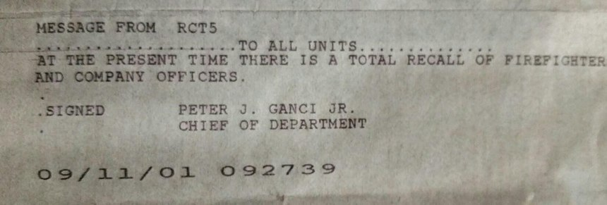 On 9/11, the chief issued a total recall of all off-duty member to report to their firehouses.