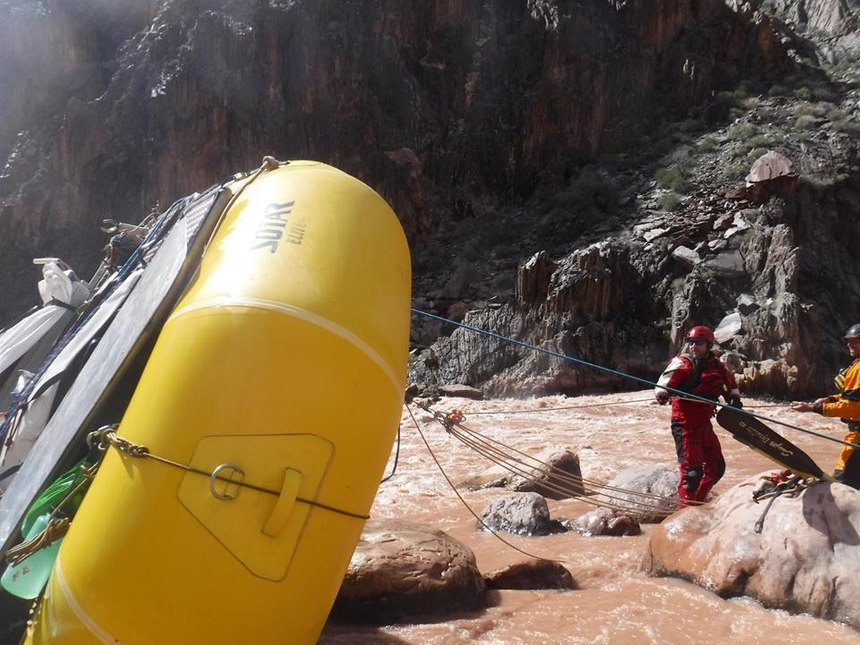 Mechanical advantage rope system used to flip over an upside-down raft. (Photo/Courtesy of the National ParkService)