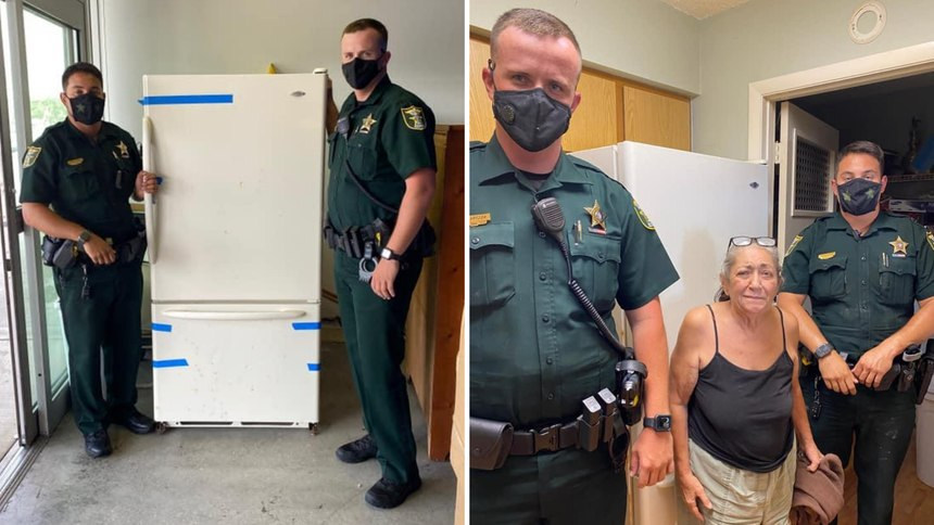 Sheriff's deputies replace Cheryl Nanartonis' broken fridge July 19, 2020 in Martin County, Florida. (Martin County Sheriff's Office)