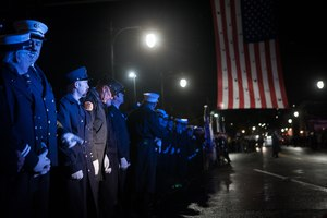 This photo shows firefighters gathered for a memorial service on Dec. 3, 2019 in honor of the Worcester 6, six Worcester firefighters who died in the line of duty battling a blaze at Worcester Cold Storage and Warehouse Co. in 1999. This year, a moment of silence will be held throughout the city in lieu of a public ceremony, due to the COVID-19 pandemic.