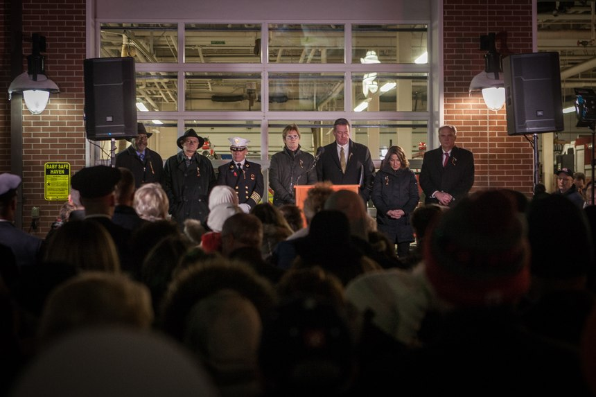 Among the speakers who honored the Worcester 6 were Mayor Joseph Petty, Lt. Gov. Karyn Polito, Fire Chief Michael Lavoie and actor Dennis Leary, who was Firefighter Jeremiah Lucey'scousin. (Photo/Douglas Hook, masslive.com)
