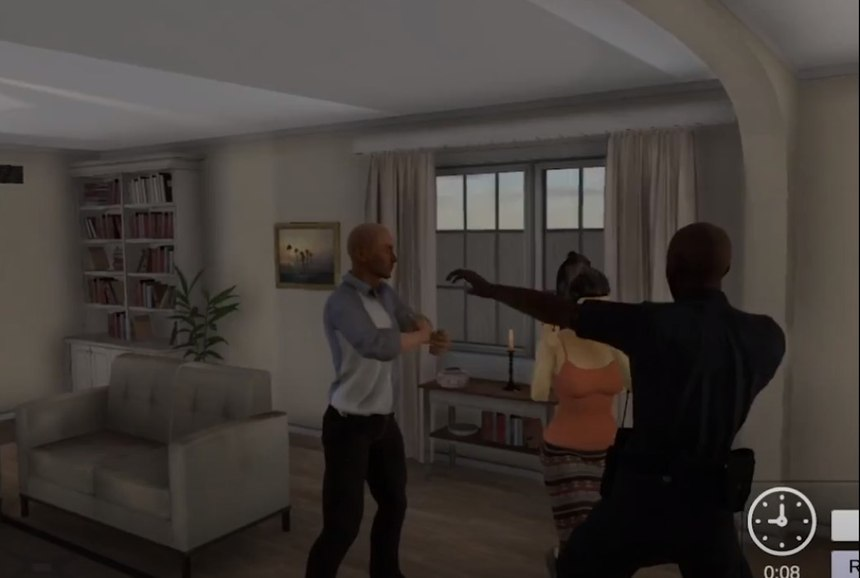 De-escalating a domestic situation in virtual reality.