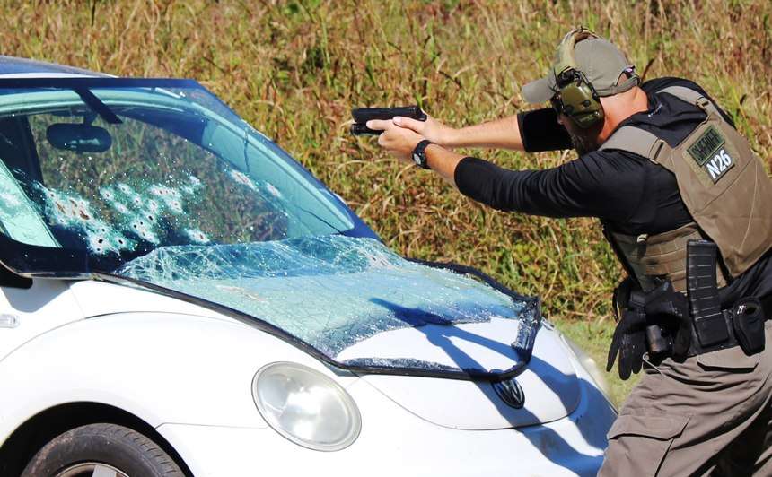 """Stacking a vehicle's """"A"""" pillars in conjunction with the windshield offers an officer a reasonable amount of cover during an engagement."""