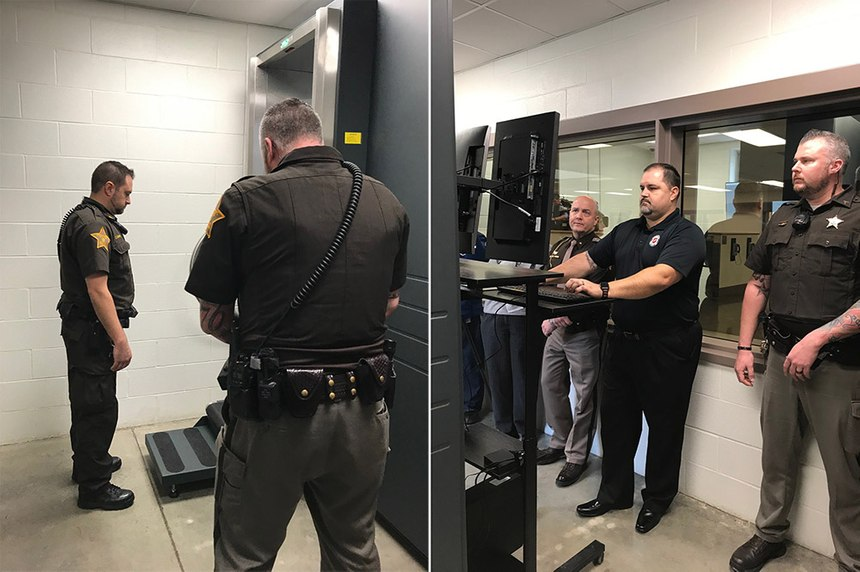 Sheriff's deputies in Wayne County, Indiana, learn how to operate the B-SCAN body scanner from Smiths Detection to catch drugs during the inmate intake screening process.