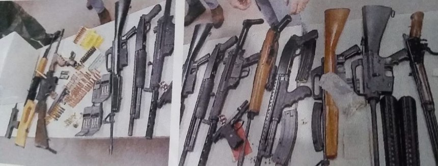 Weapons seized during gang unit raid. (Photo/comptonpolicegangs.com)