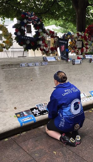 Wilson is pictured seeing Toney's name on the memorial for the first time. (Photo/Ashley Wilson)