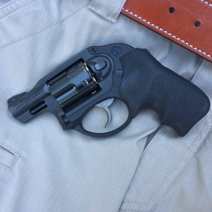 Some revolvers, like this Double-Action-Only (DAO) Ruger LCR, won't have a visible hammer.