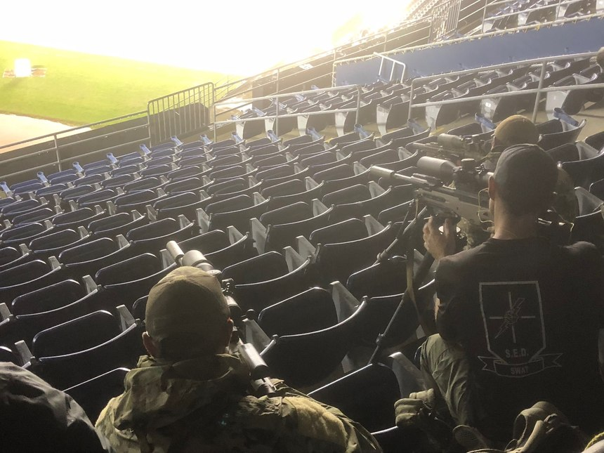 Getting stable while shooting from cramped conditions in the stadium can be a challenge.