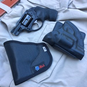 The Ruger LCR 9mm makes a great BUG and will carry well in pocket holsters from DeSantis (left) and Aker (right). (Photo/Mike Wood)