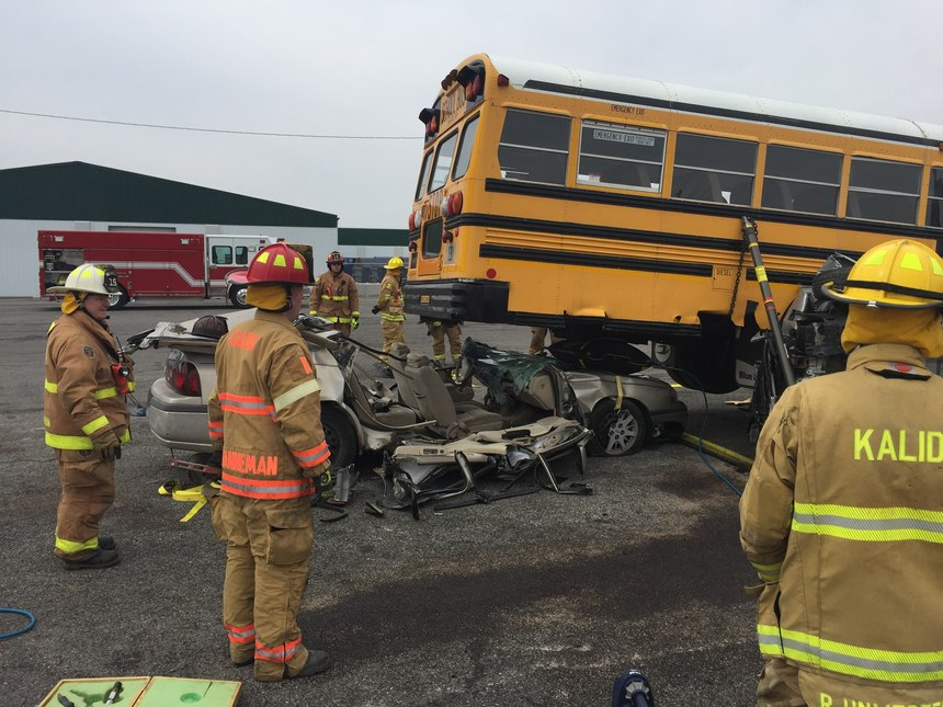 The department conducted heavy rescue extrication training using the municipal school district's decommissioned bus.