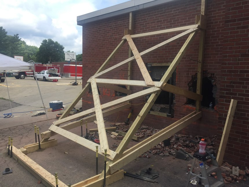 The department conducted structural collapse training at an acquired structure slated for demolition.