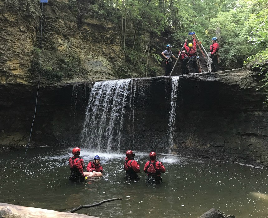 The department conducted a water-based rope course with integrated preplanning. (Photo/Dalan Zartman)
