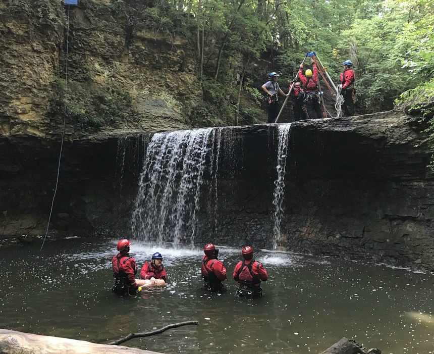 The department conducted a water-based rope course with integrated preplanning.